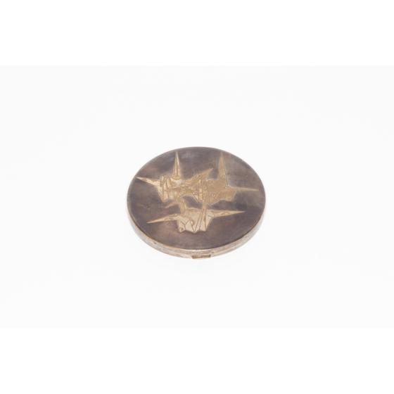 Komai Compact Mirror, metalwork, meiji period
