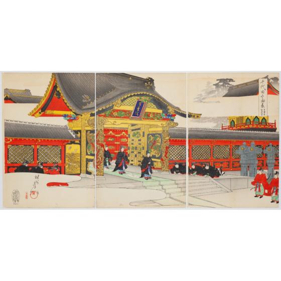 chikanobu yoshu, Visit at Zojoji Temple, chiyoda palace