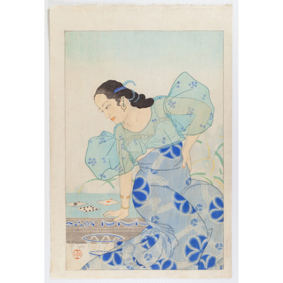 paul jacoulet, Portrait of a Chamorro Woman - Blue, french artist