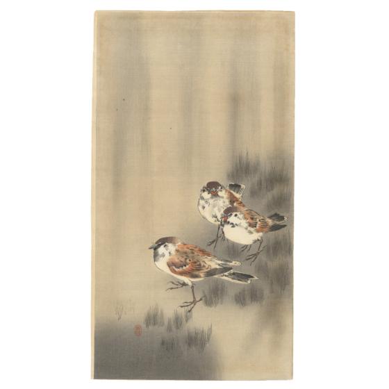 Koson Ohara, Three Sparrows, Rain