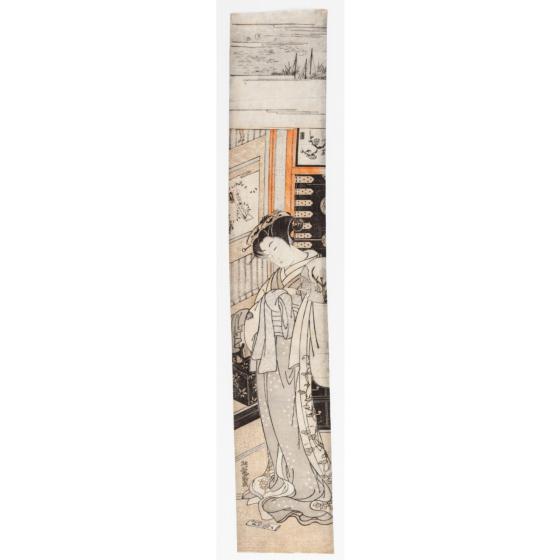 Koryusai Isoda, Hashira-e, Beauty with Fan, Japanese woodblock print, japanese antique