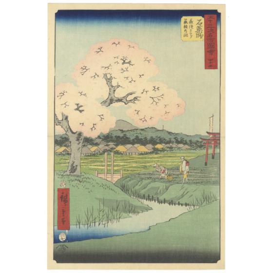 japanese woodblock print, japanese antique, landscape, hiroshige utagawa, sakura