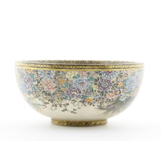 japanese antique, satsuma, flowers, butterflies, hand-pained, porcelain, meiji period