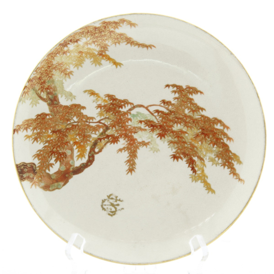 Yabu Meizan, Plate with Maple Tree, Satsuma Ceramics, Japanese antique, Japanese art, Japan