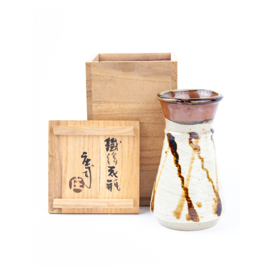 Shoji Hamada, Glazed Stoneware Vase, Ceramics, Pottery, Original Japanese antique