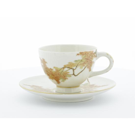 Yabu Meizan, Satsuma Cup & Saucer, Red Maple Leaves, Botanical, Japanese art, Japanese antiques, ceramics