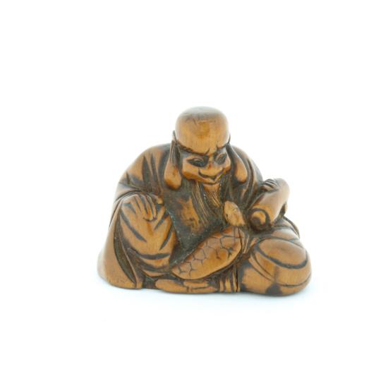 Wooden Netsuke, Fukurojuku, Lucky God, Figurine, Carving, Original Japanese antique