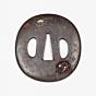 iron tsuba, sword hand guard, katana, metalwork, ox, moon