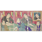 kunimasa V utagawa, Tojiawase Oden no Kanabumi, theatre actors, kabuki play