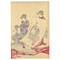 chikanobu, calligraphy, kimono, seven lucky gods, hotei, japanese woodblock print