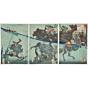 yoshitoshi tsukioka, heroes, five elements, Saito Toshimitsu fighting Nonoma in the River Akuta, samurai