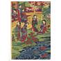 chikanobu yoshu, court ladies, banquet, cherry blossoms, sakura, kimono design, japanese fashion, meiji period