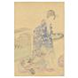 chikanobu, hakoniwa, kimono, japanese woodblock print, japanese garden