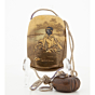 inro, gold lacquer, japanese lacquer, handmade, woodwork, artisan, sagemono, netsuke