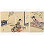 original japanese woodblock print, japanese art, court ladies, kimono design, kimono pattern, japanese music, crane, meiji