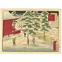 shosai ikkei, kanda myojin, temple, winter, snow, famous view, travel japan, tokyo