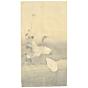 Matsumura Keibun, Three Ducks, Riverbank, Animals, River, Flowers, Original Japanese woodblock print