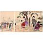 original japanese woodblock print, japanese art, kimono design, buddha, chikanobu, meiji