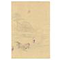chikanobu, kimono, rooster, teahouse, japanese woodblock print, ukiyo-e