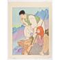paul jacoulet, Bergers des Hautes Montagnes, Corée, mountain shepherds, french artist, korea