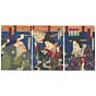 kunichika toyohara, kabuki play, traditional performance, japanese actors, meiji period