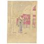 chikanobu, kimono design, japanese temple, japanese woodblock print