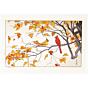 toshi yoshida, cardinals, bird, japanese woodblock print