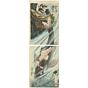 japanese woodblock print, japanese antique, kintaro and carp, yoshitoshi