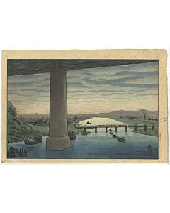gihachiro okuyama, modern landscape, Under Ichikawa Bridge