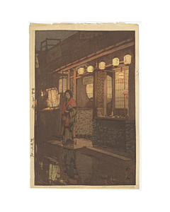 hiroshi yoshida, a little restaurant at night, modern print