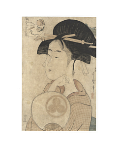 utamaro kitagawa, beauty with uchiwa fan