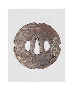 copper tsuba, japanese sword hand guard