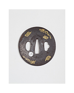 19th century Iron Tsuba Designed with Gilt Clouds and Stylised Dragons