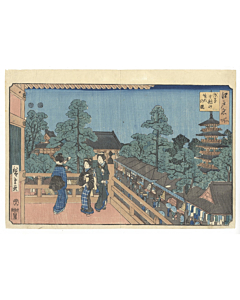 Hiroshige I, asakusa, edo, japanese woodblock print, japanese antique, nature, temple