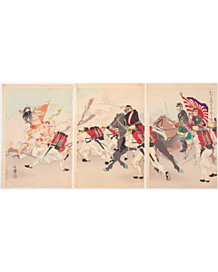 Toshihide Migita, Japanese Army Attacking Chinese at Asan, War Print