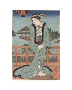 Kunisada Utagawa, Courtesan Standing on the Terrace, Edo Era