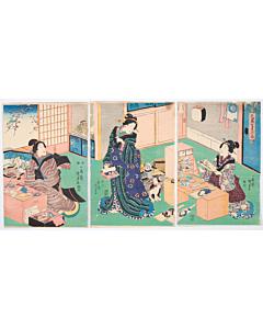 kunisada I utagawa, hagoita, beauty, battledore racket, kabuki, japanese design, cat, edo period
