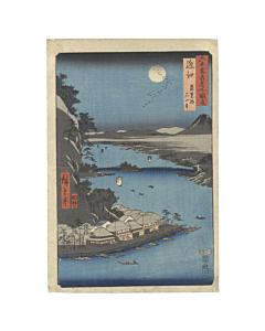 Ando Hiroshige I, Lake Biwa, Ishiyama Temple, Landscape, Japan, Woodblock Print, Moon, Teahouse