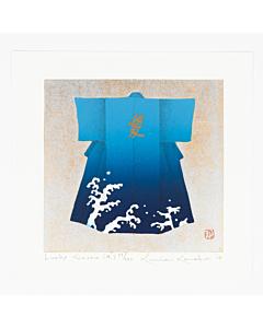 japanese woodblock print, contemporary japanese art, kimono pattern, blue kimono, kunio kaneko