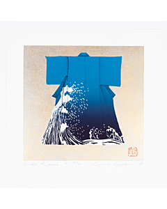 japanese woodblock print, japanese contemporary art, kimono fashion, blue wave, kunio kaneko, gold leaf