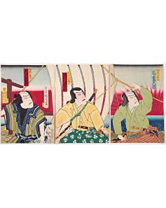 kunichika toyohara, boat, japanese actors, kabuki theatre, performance, traditional culture