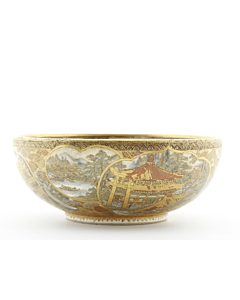 satsuma bowl, japanese antique, gilded, meiji period, porcelain, miniature