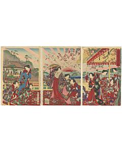 Chikanobu Yoshu, Nobility Entertaining on Penglai Island, Meiji Era