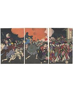chikanobu yoshu, fire brigade, palace, tattoo