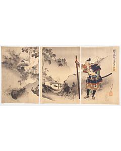 toshikata mizuno, samurai warrior, traditional landscape