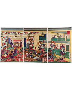 Kuniteru II Utagawa, The Picture of Tea House Shinagawa-ya, Courtesans