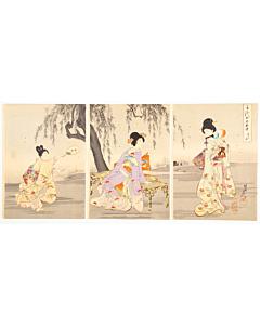 chikanobu yoshu, fireflies, court ladies, kimono