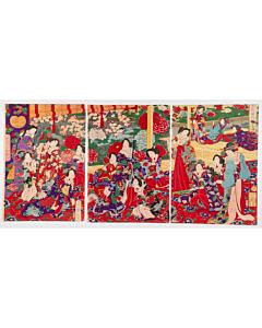 chikanobu yoshu, court ladies, peony garden