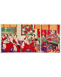 chikanobu yoshu, court ladies, meiji era