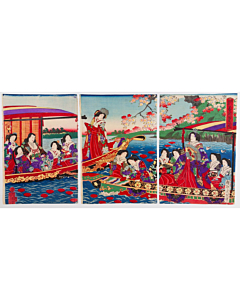 chikanobu yoshu, sumida river, court ladies